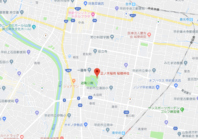 山梨県甲府市稲積神社の地図