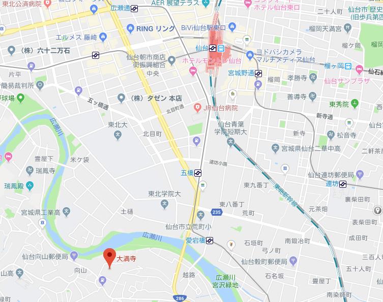 宮城県仙台市大満寺の地図
