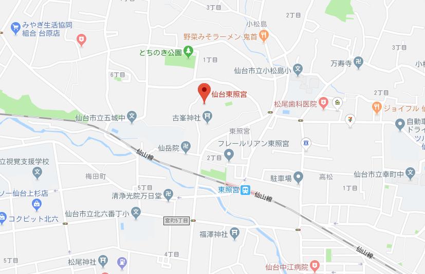 宮城県仙台市 仙台東照宮の地図