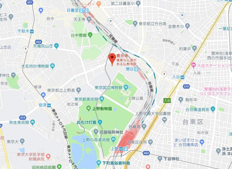 東叡山「寛永寺」の地図