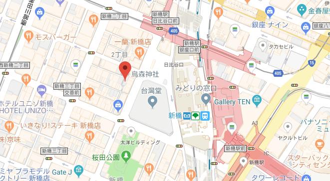 東京都新橋烏森神社の地図