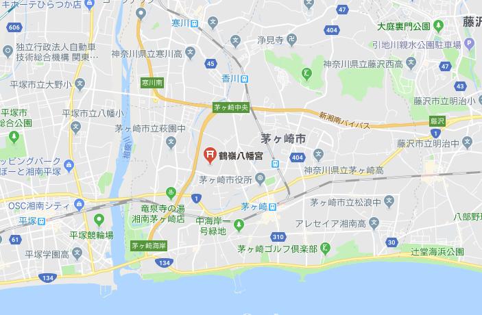 神奈川県茅ケ崎市鶴峰八幡宮の地図