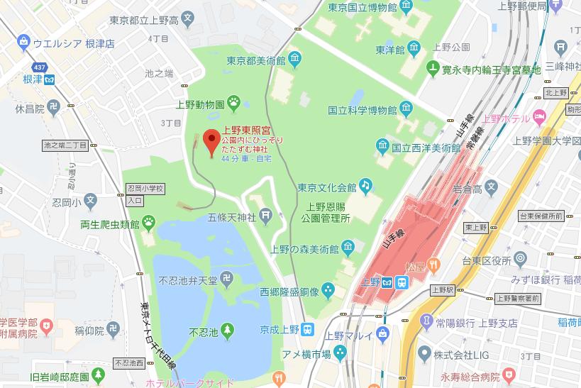 上野公園内 上野東照宮の地図
