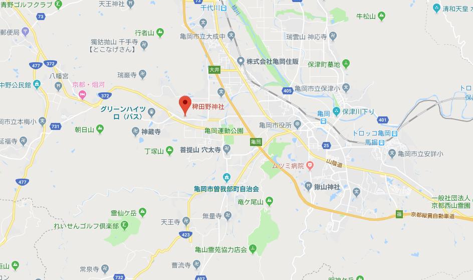 京都府亀岡市 稗田野神社の地図