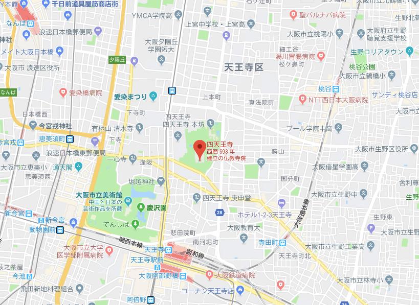 大阪市四天王寺の地図