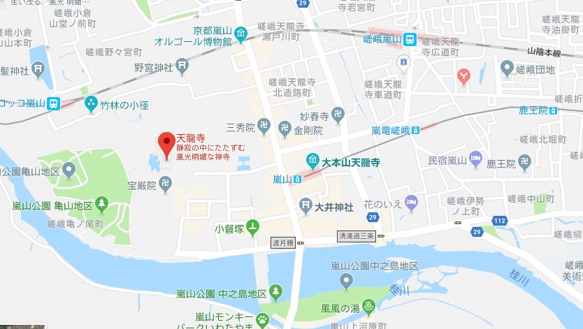 京都府天龍寺の地図