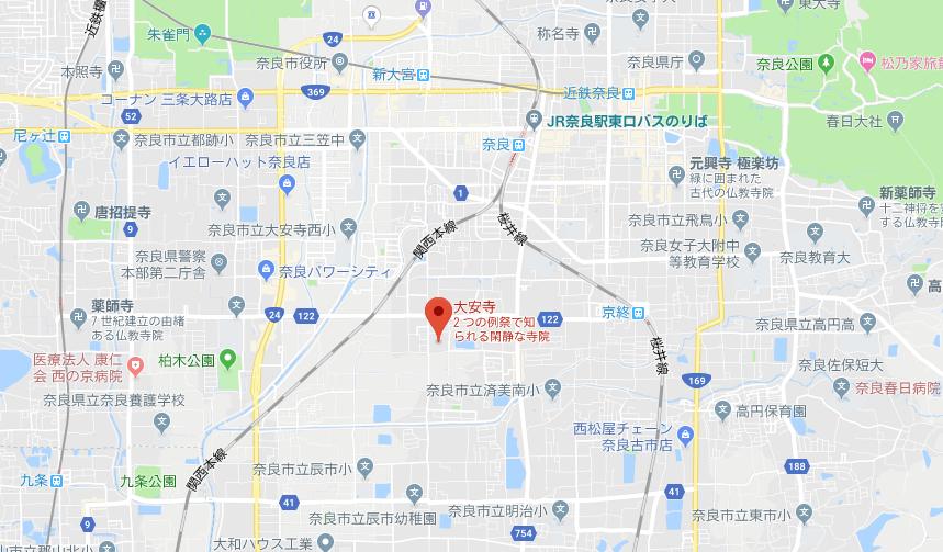 奈良県奈良市 大安寺の地図
