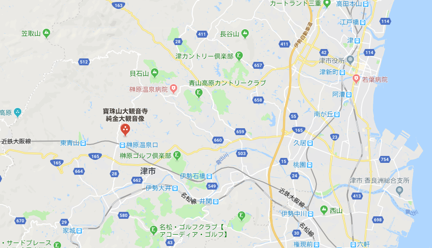 ガン封じ石像がある三重県津市寶珠山大観音寺地図