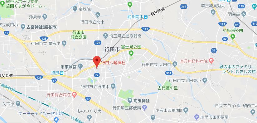 埼玉県行田八幡神社の地図