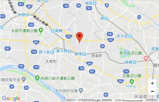 群馬県邑楽郡石打こぶ観音の地図