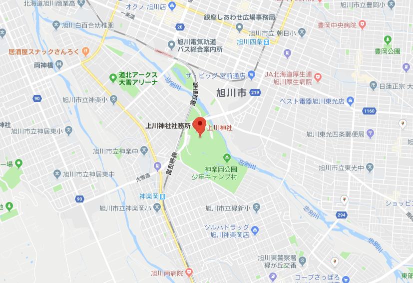 北海道旭川市 上川神社の地図