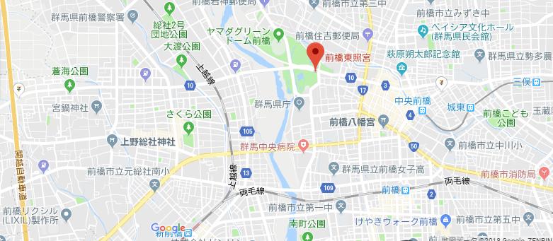 群馬県前橋市前橋東照宮の地図