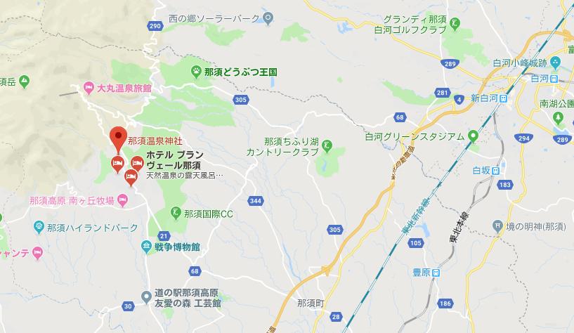栃木県那須郡 那須温泉神社の地図