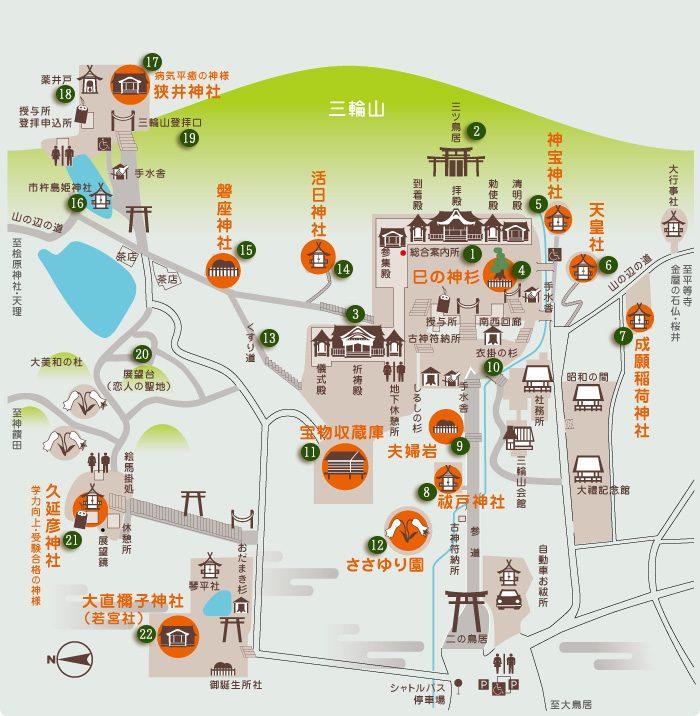 奈良県桜井市 大神神社の境内地図
