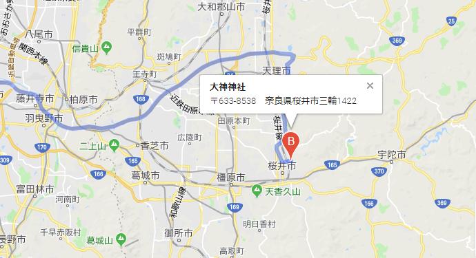 奈良県桜井市 大神神社の地図