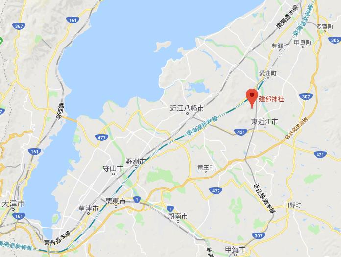 滋賀県東近江市五個荘伊野部町建部神社の地図