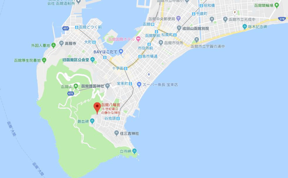 函館市谷地頭町 函館八幡宮の地図