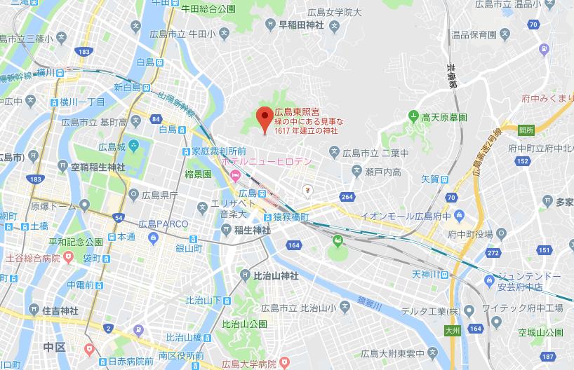 広島県広島市東区 東照宮の地図
