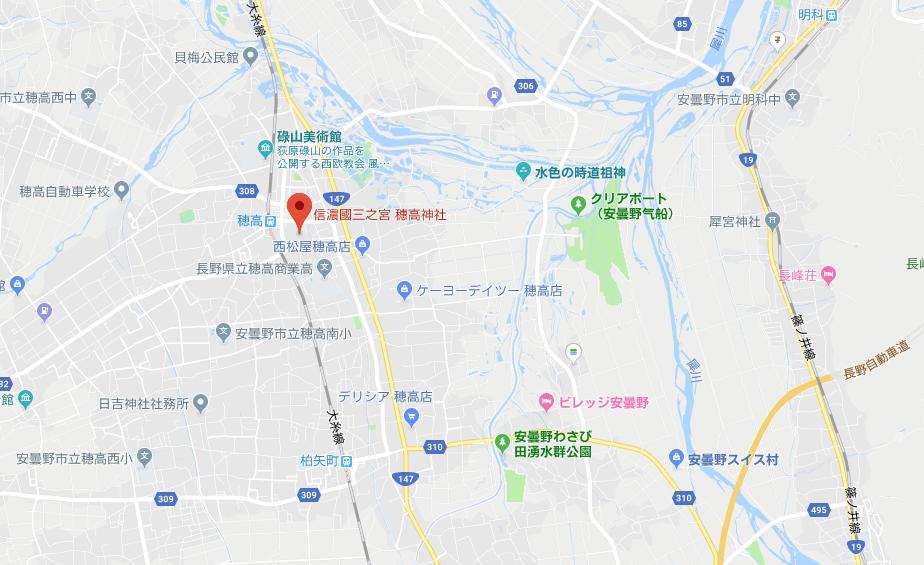 長野県安曇野市穂高神社の地図