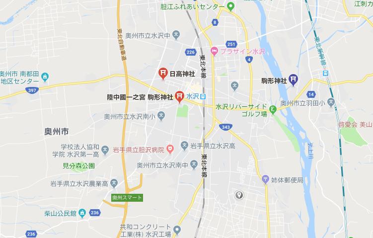 岩手県奥州市 駒形神社の地図