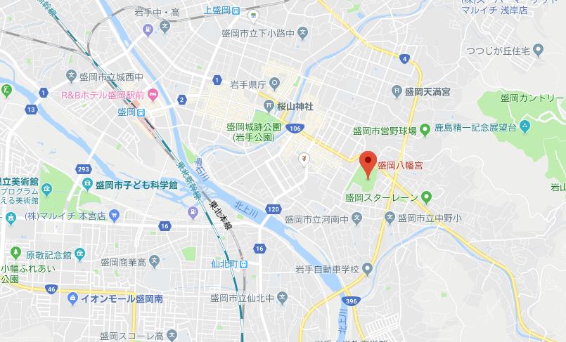 岩手県盛岡市盛岡八幡宮の地図