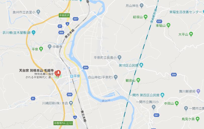 岩手県西磐井郡 毛越寺の地図