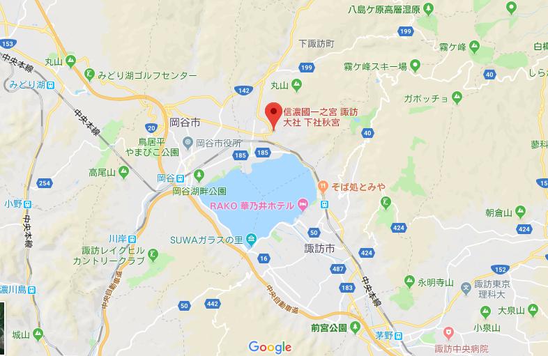 諏訪大社下社秋宮の地図