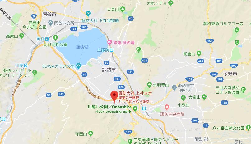 諏訪大社上社本宮の地図