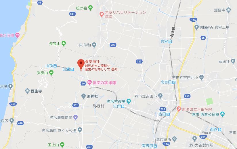 新潟県西蒲原郡 弥彦神社の地図