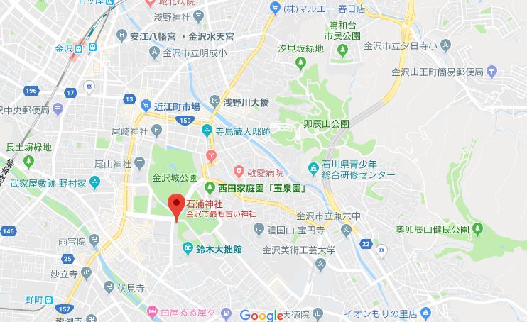 石川県金沢市 石浦神社の地図
