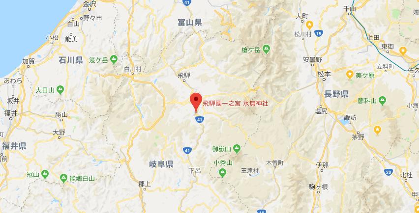 岐阜県高山市 飛騨一宮水無神社の地図