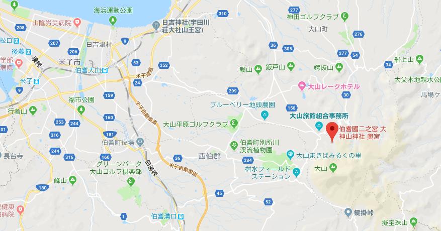 大神山神社(奥宮)の地図