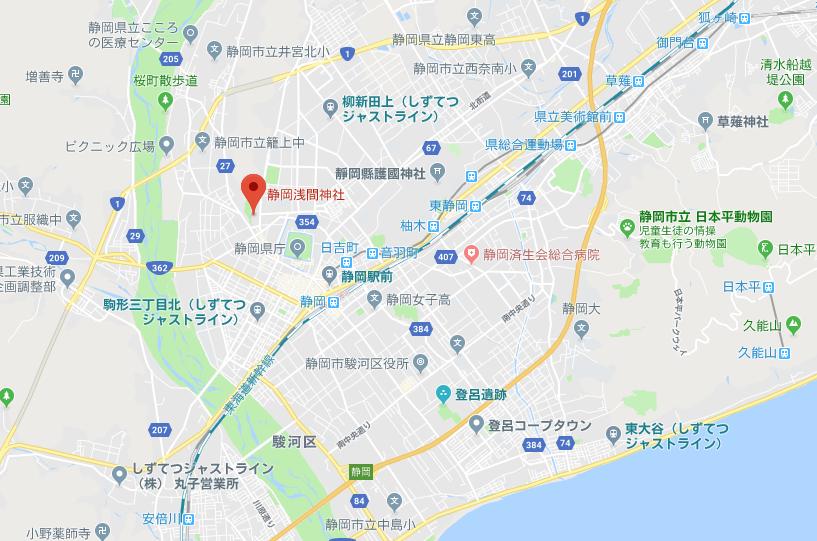 病気平癒を祈願できる静岡浅間神社の地図