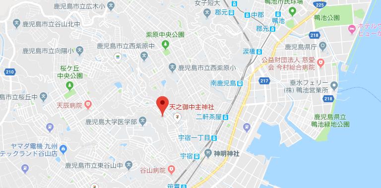 鹿児島県鹿児島市 天之御中主(妙見)神社の地図