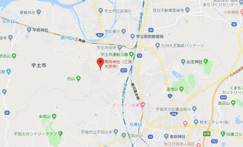 熊本県 西岡神宮の地図