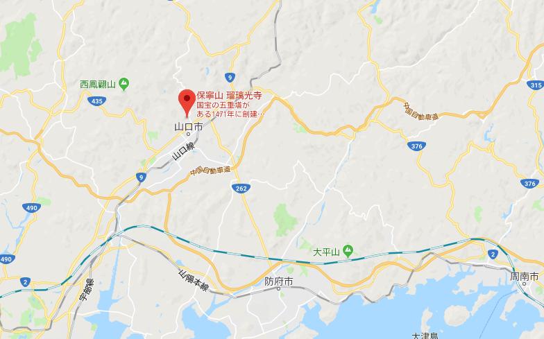 山口県山口市 瑠璃光寺の地図