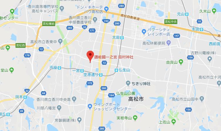 香川県高松市 田村神社の地図