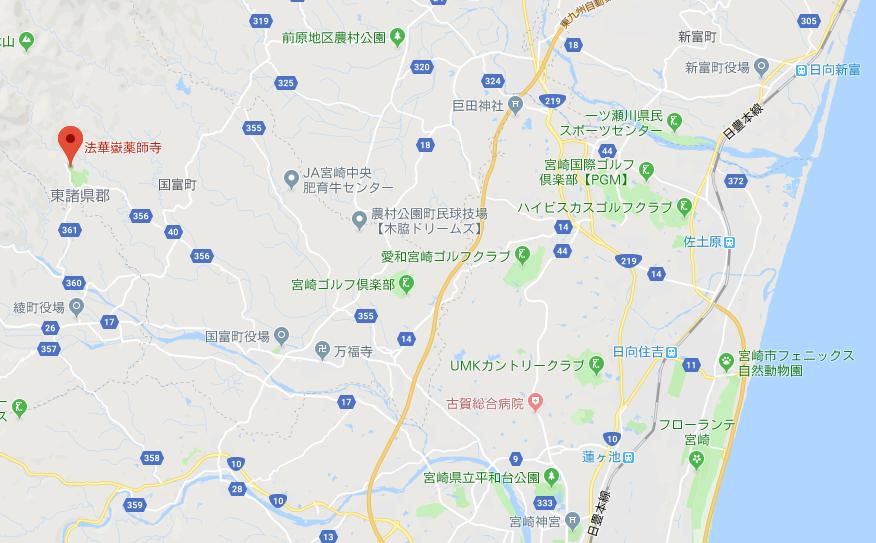 宮崎県東諸県郡 法華嶽薬師寺の地図