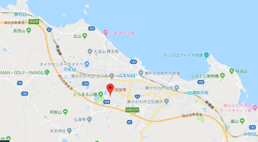香川県東かがわ市 與田寺の地図