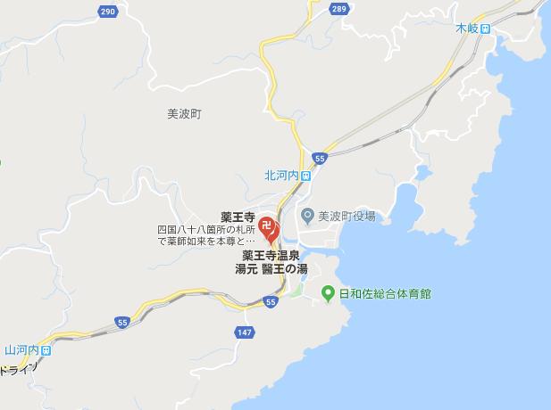 徳島県海部郡 医王山 薬王寺の地図